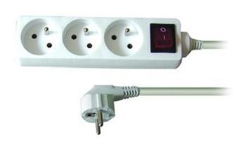 Kabel 250V/10A prodlužovací přívod 10m, 3 zásuvky, s vypínačem - pp3k-10