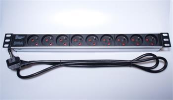 """Panel napájecí 1U do 19"""" racku, 9x230V, 2m kabel - PDU-F10G09"""