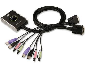 Aten CS-682 DataSwitch elektronický 2:1 (kláv.,DVI,myš,audio) USB, 1,2m kabely - CS-682
