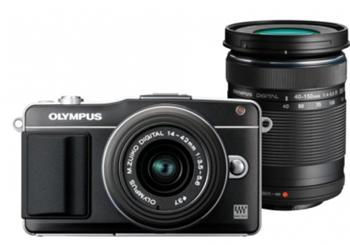 Olympus E-PM2 DZ Kit black/black + Wi-Fi FlashAir SD card - V206022BE010
