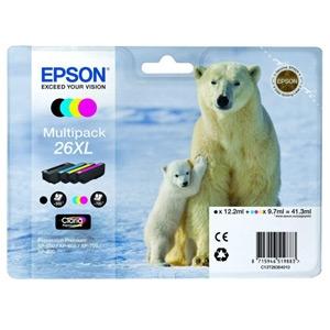Epson ink čer+bar CLARIA Premium 26 - multipack (CMYK) - C13T26164010