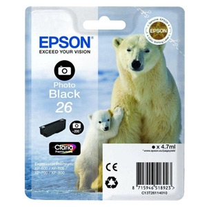 Epson ink čer CLARIA Premium 26 - photo black - C13T26114010