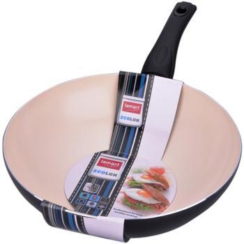 Lamart LTK2808 BW, keramická pánev wok 28cm, černá - LTK2808BW
