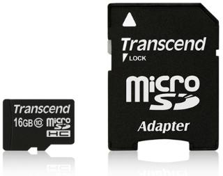 Transcend Micro SDHC karta 16GB Class 10 vč. adaptéru - TS16GUSDHC10