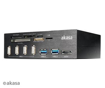 AKASA panel 4x USB 2.0, 2x USB 3.0, eSata + čtečka karet - AK-HC-05BKV2