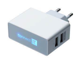 CONNECT IT adapter 220V pro USB napájení 2,1 a 1A bílý - CI-151