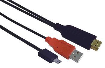 PremiumCord MHL (micro USB/HDTV) adaptér kabel na HDMI s RCP funkcí 1m - khcon-14