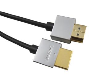 PremiumCord Slim HDMI High Speed + Ethernet kabel, zlacené konektory, 2m - kphdmes2