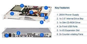 "SUPERMICRO mini1U chassis, 1x 3,5"" fixed HDD (nebo s MCP-220-00044-0N 2x2,5""), DVD, 260W - CSE-512F-260B"