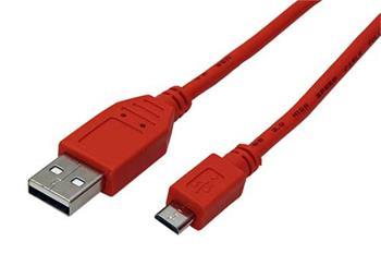 USB 2.0 kabel A- microUSB (M), 1m červený - 11.92.8761