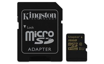 Kingston Micro SDHC karta 16GB Class 10 UHS-I + adaptér - SDCA10/16GB