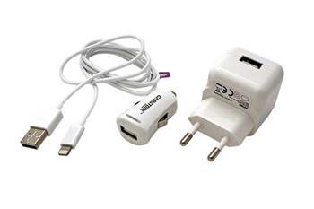 Cabstone Napájecí sada 3v1 (230V+12/24V) 5V/2,1A pro Apple s konektorem Lightning, bílá - 4040849633058
