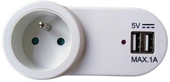 Nabíjecí adaptér s průběžnou zásuvkou, 2x USB - DC24