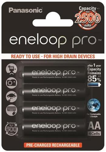 Panasonic Eneloop Pro AA, akumulátory blistr 4 ks, 500 cyklů - BK-3HCDE/4BE