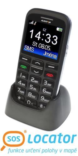 Mobilní telefon ALIGATOR A680 Senior černý + stolní nabíječka - A680B