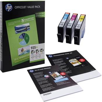 HP 935XL Combo-pack CMY Ink Cartridge + 75 listů A4, F6U78AE - F6U78AE