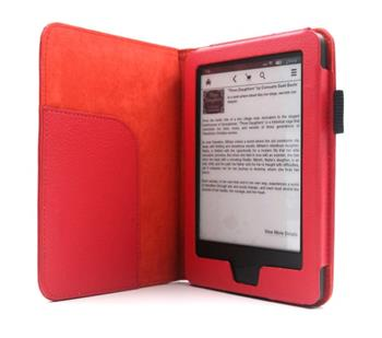 C-TECH pouzdro pro Kindle 6 Touch s funkcí WAKE/SLEEP, červené - AKC-08R