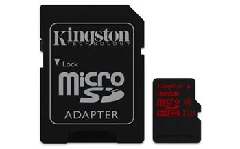 Kingston Micro SDHC karta 32GB UHS-I U3 + adaptér - SDCA3/32GB