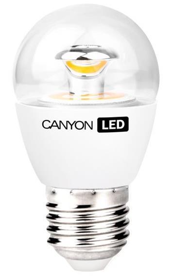 Canyon LED COB žárovka, E27, kompakt kulatá průhledná 6W, 470 lm, teplá bílá 2700K - PE27CL6W230VW