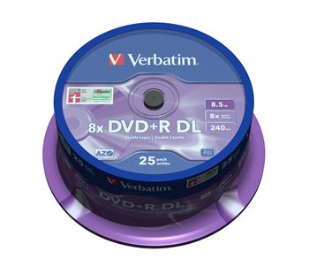DVD+R Double layer Verbatim 8x spindl po 25ks 8,5GB - 43757