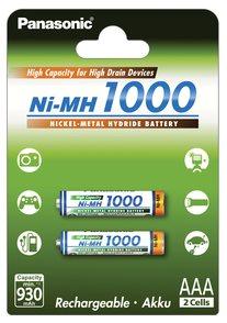 Panasonic 1000 NiMH AAA, akumulátory blistr 2 ks - 4HGAE/2BE