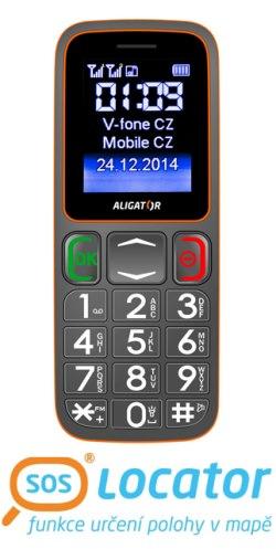 Mobilní telefon ALIGATOR A320 Senior šedo-oranžový - A320GO