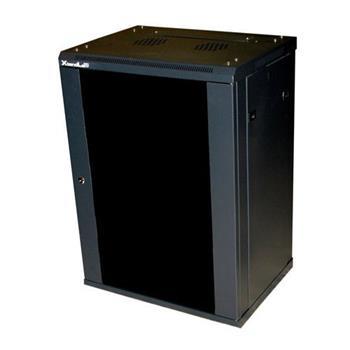 """XtendLan 19"""" rozvaděč 22U/600x600,na zeď, jednodílný,celoskleněné dveře černý - 22U66ZED"""