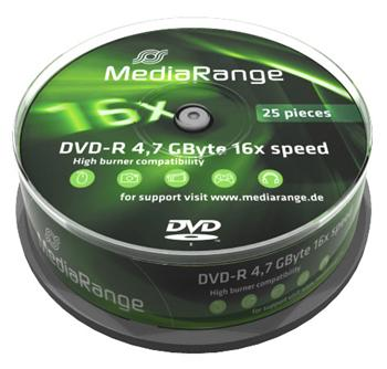 DVD-R MEDIARANGE 4,7GB 16x spindl spindl 25pck/bal - MR403