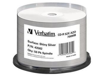 CD-R 80 min. Verbatim 52x Silver Thermo Printable 50-cake - 43582