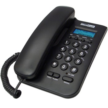 MaxCom KXT100 stolní telefon, displej, záznam hovorů, redial, černý - KXT100cza