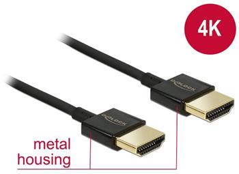 Delock Kabel High Speed HDMI s Ethernetem - HDMI-A samec > HDMI-A samec 3D 4K 0,5 m Slim Premium - 84786