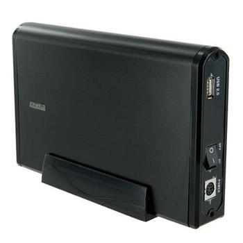 4World Hliníkové pouzdro na jednotky HDD 3.5'' SATA, barva černá - 05297