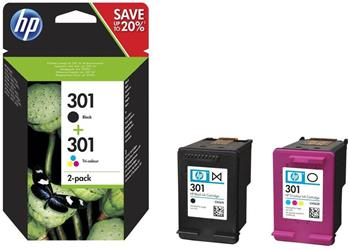 HP 301 Ink Cartridge Combo 2-Pack Black/Tri-color, N9J72AE - N9J72AE
