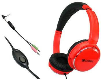 Sandberg sluchátka Home'n Street s mikrofonem, červená - 125-91