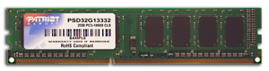 Patriot 2GB 1333MHz DDR3 CL9 DIMM - PSD32G133381