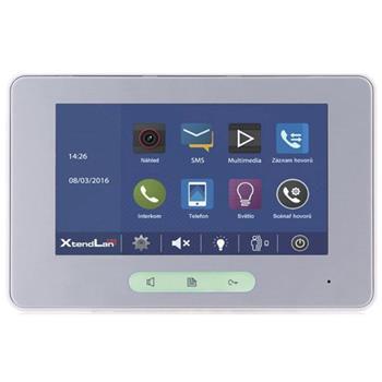 """XtendLan Bytový monitor pro D2,barevné TFT7"""", dotyk.obrazovka +tlačítka, paměť, stříbrno-bílý, CZ - DPM-D274TMDv2"""