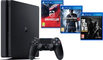 Sony PlayStation 4 PlayStation 4 Slim, 1TB, černá + Uncharted 4 + DRIVECLUB + The Last of Us - PS719806868