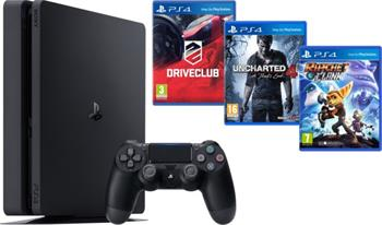 Sony PlayStation 4 Slim, 1TB, černá + Uncharted 4 + DRIVECLUB + Ratchet & Clank - PS719805465