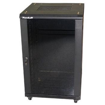 """XtendLan 19"""" rozvaděč 27U/600x800 stojanový, černý, skleněné dveře, plná záda - ECO-27U-68-BLACK"""