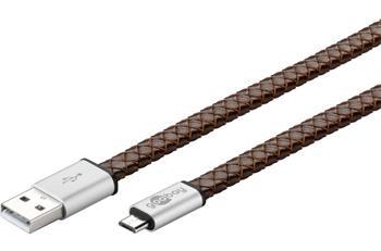 Micro USB 2.0, A-B nabíjecí a datový kabel, z pravé kůže, 1m - ku2m1fleather