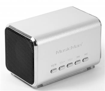 Přenosný stereo reproduktor MIDI Technaxx MusicMan, baterie 600 mAh, FM-Radio, stříbrný - 3554