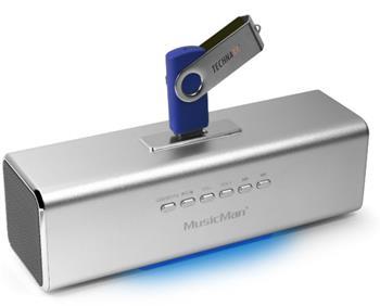Přenosný stereo reproduktor Technaxx MusicMan, baterie 600 mAh, FM-Radio, USB, stříbrný - 3431