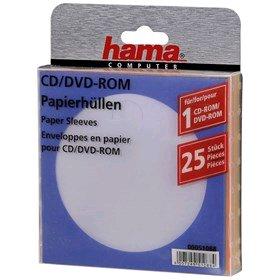 Hama ochranný papírový obal pro CD/DVD, 25ks/bal, barevný mix - 51088
