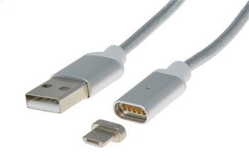 PremiumCord Magnetický micro USB 2.0, A-B nabíjecí a datový kabel 1m, stříbrný - ku2m1fgs