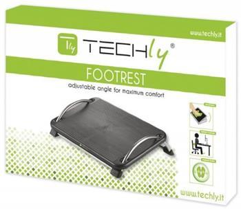 Techly ergonomická podnožka pod nohy s nastavitelným úhlem sklonu, černá - 305564
