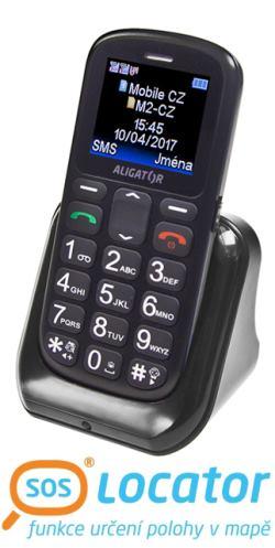 Mobilní telefon ALIGATOR A321 Senior šedo-černý + stolní nabíječka - A321GB