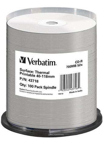 CD-R Verbatim DLP 80min. 52x WIDE THERMAL Printable 100-cake - 43718