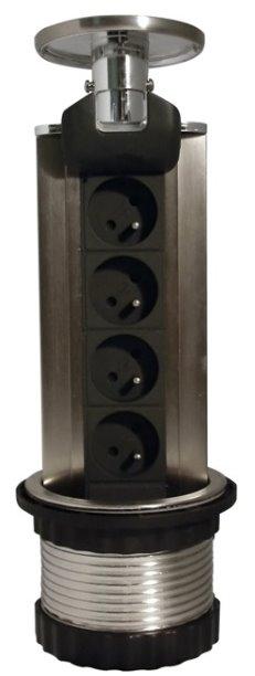 Zásuvka HBF 760075 výsuvná zásuvková lišta se 4 zásuvkami 230V a LED podsvícením, 1,5m kabel - 760075