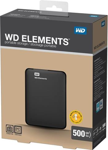 "WD Elements Portable 750GB Ext. 2.5"" USB3.0, Black - WDBUZG7500ABK-WESN"