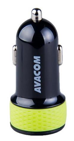 AVACOM nabíječka do auta se dvěma USB výstupy 5V/1A - 3,1A, černo-zelená barva - NACL-2XKG-31A